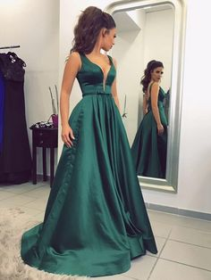 Princess V-neck Satin Sweep Train Sashes / Ribbons Prom Dresses $135.99