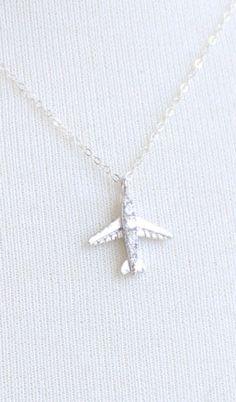 Airplane Necklace Cubic Zirconia Necklace