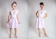 Vintage 1950s Pink Swirl Dress - Embroidered Flower - Pastel Summer Fashions on Etsy, £65.36