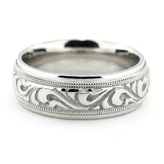 Men's Carved Wedding Band - Paisley – Moissanite Rings