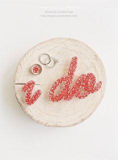 """Wooden Ring Pillow - """" i do """""""