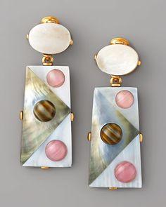 Oscar de la Renta Pearly Geometric Earrings