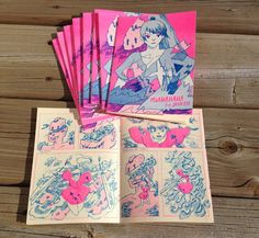 Risograph mini comic zine 5 x 7, 12 pages by Jenn Liv. Debuted at TCAF 2014. Printed in Toronto by Colour Code Printing.    One day docile monsters