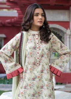Buy Malhar Lawn Printed Bamboo Summer 2019 Collection Printed Lawn Unstitched 3 Piece Suit from Sanaulla Store - Original Products. Kurti Sleeves Design, Sleeves Designs For Dresses, Neck Designs For Suits, Kurta Neck Design, Dress Neck Designs, Blouse Designs, Sleeve Designs, Pakistani Fashion Casual, Pakistani Dresses Casual
