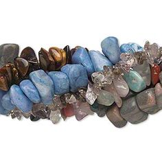 Bead mix, multi-gemstone (natural / dyed), mixed colors, mini to extra-large chip, Mohs hardness 3-7. Sold per pkg of (5) 15-inch strands.