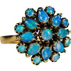 Natural Opal Ring 1.68ctw 14k Gold Precious Blue Opal Cluster Ring -- found at www.rubylane.com @rubylanecom #vintagebeginshere #mondayblues
