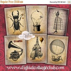 $1.00 ... 80% Off Mothers Day Sale Steampunk Jewelry Holders Digital