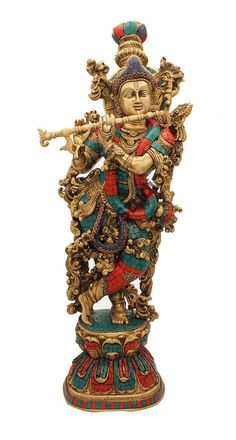 StatueStudio Brass Lord Krishna Idol Statue Turquoise Coral Art This beautiful Krishna statue is a perfect addition to any home or office. Krishna Statue, Jai Shree Krishna, Radha Krishna Images, Lord Krishna Images, Radha Krishna Love, Krishna Pictures, Krishna Lila, Radhe Krishna, Hanuman