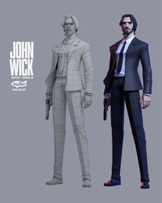 Dinsai studio on [Process]JOHN WICK Parabellum [Dinsai Studio fan art model] Fantasy Character, 3d Model Character, Character Modeling, Character Concept, Character Art, Character Design Sketches, Character Design References, Character Design Inspiration, Character Illustration