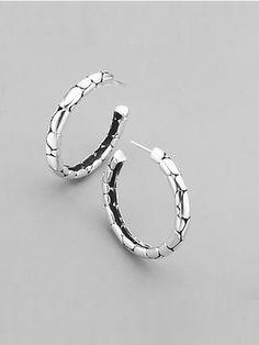 "John Hardy Sterling Silver Textured Hoop Earrings/11⁄2"" on shopstyle.com"