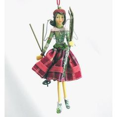 Gisela Graham Christmas Brunette Alpine Angel Fairy with Skis (medium) GBP8.75