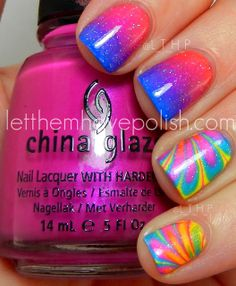 Milani 'White on the Spot' base with gradients in - China Glaze 'Surfin for Boys' and 'Beach Cruise-r'.  The marble uses China Glaze  'Ride the Waves', 'Splish Splash' and 'Sun Kissed' and all topped off with INM Northern Lights and Seche Vite