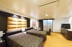 Description:    MSC Fantasia, outside stateroom with balcony; 2 lower beds (3rd and 4th bed available, sofa)