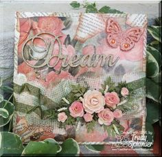 """""""Dream"""" Canvas with Drywall Fabric by true-2-you - Cards and Paper Crafts at Splitcoaststampers    I created this canvas with drywall fabric, vintage book pages, glitter, ribbon, and bling.  Like it?  Please feel free to REPIN.  :)    Hugs,  True :D    @Want2Scrap Company"""