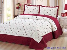 Bedding 3 Piece / Bedspread Bed Quilt Set / Embroidered / 2 Pillow Sham, Burgundy (Queen)
