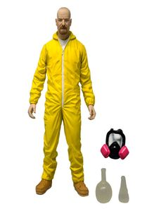 Figura Walter White, Breaking Bad. Mono amarillo Hazmat Suite, 15cm Mezco Toys Figura de 15cm del personaje protagonista de la serie Breaking Bad, Walter White, con el mono amarillo.