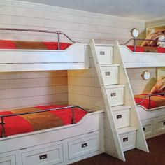Fun double bunk bed idea with storage