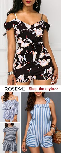 878e7b9cb770f Printed Strappy Cold Shoulder High Waist Romper. Find your new favorite  dress from Rosewe.