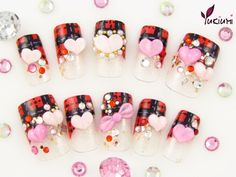 Yukiumi Japanese 3D Style Hand Made Nails Red by yukiuminails, $30.00