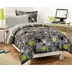 Enliven your bedroom with this fun and colorful bed in a bag. The comforter features a skull and skateboard pattern in lime green, gray taupe, black and white and reverses to a crossed stripe pattern in lime green, gray taupe and black.
