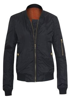 Women' Classic Zip Up Padded Bomber Jacket -- This is an Amazon Affiliate link. More info could be found at the image url.