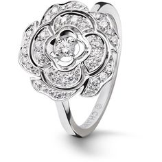 Camélia Ring Camellia bud motif in 18K white gold, diamonds and... ❤ liked on Polyvore featuring jewelry, rings, white gold diamond jewelry, diamond jewellery, diamond rings, white gold jewellery and white gold rings