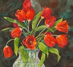 Red Tulips by Connie Layne Watercolor ~ 15
