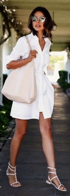 summer outfits Classy. // White Shirt Dress + White Sandals