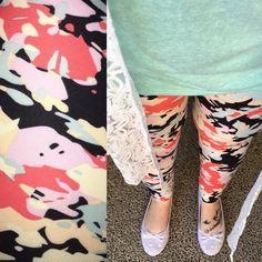 LuLaRoe black, mint, coral, pink, yellow floral leggings with mint Irma and white lace Joy.