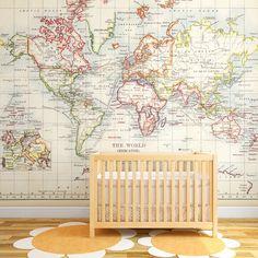 Vintage Old World Map Wall Mural | Vintage Map Poster for Kids Room