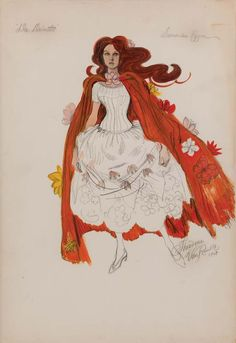 "Theadora Van Runkle costume design sketch of Samantha Eggar from Doctor Dolittle. (TCF, 1967) Original costume design sketch by Theadora Van Runkle accomplished in pencil and gouache on a 15 in. x 22 in. leaf of illustration board, featuring Samantha Eggar as ""Emma Fairfax"" in a white dress and flowing orange cape with floral design. Signed ""Theadora Van Runkle, 1964"" at the lower right. Slight corner wear and toning along extremities. Sold in Debbie Reynolds, The Auction, June 2011."