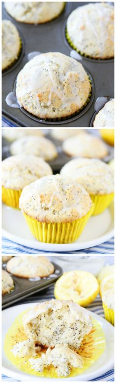 These lemon poppy seed muffins are easy to make, and extra lemony thanks to a lemon glaze that infuses the muffin with a sweet, yet tart, lemon freshness. Make these lemon poppy seed muffins for breakfast or brunch! Just Desserts, Delicious Desserts, Dessert Recipes, Yummy Food, Tasty, Lemon Poppyseed Muffins, Lemon Muffins, Cakepops, Little Muffins