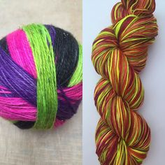 Jus for research purposes: which way do you prefer your stripes? Both dyed in exactly the same way (just different colours) one is reskeined one is just balled. I can't decide which I like best! #motherofpurl #knittersofinstagram #knitstagram #yarn #indiedyer #handdyedyarn #selfstripingyarn