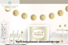 Twinkle Twinkle Little Star Party Decor - Gender Neutral Baby Shower - Baby First Birthday - Boy and Girl baby Shower - Party Decor Kit - http://www.babyshower-decorations.com/twinkle-twinkle-little-star-party-decor-gender-neutral-baby-shower-baby-first-birthday-boy-and-girl-baby-shower-party-decor-kit.html