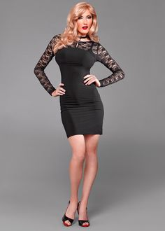 """Your Favorite Lace Trimmed Dress - Black by Suddenly Fem  Inspire envious glances. This Suddenly fem cocktail dress features exclusive lace trim, a modified scoop neck back 12 inch zipper plus a sexy little opening center front. Extra soft double knit stretch fabric. Length shoulder to hem 36"""""""
