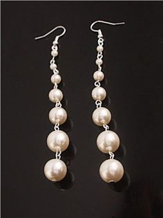 Dangling Pearl Shoulder Duster Earrings