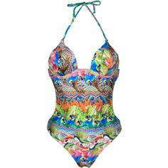 Rio De Sol Trikini With Cups, Tropical And Colourful - Annumbi (£55) ❤ liked on Polyvore featuring beige