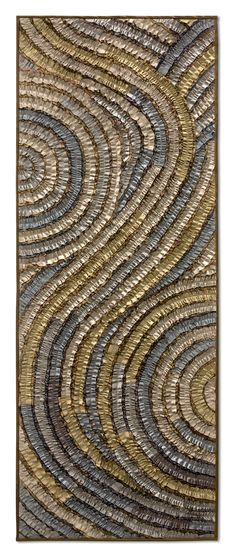 Platinum Swirl Banner by Tim Harding: Fiber Wall Art available exclusively at www.artfulhome.com This richly textured composition of lustrous fabrics is a stunning work of art for your wall in metallic shades of platinum, pewter, steel, and silver.