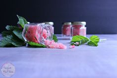 Craft some DIY raspberry lip scrub gift for spa night, Mother's Day, bridesmaids gift or even party favors! This is a natural (and tasty) sugar lip scrub!