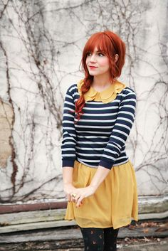 love the stripes with the yellow, and the festive tights!