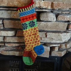Hand Knit Christmas Stocking with Plum by WarmedbytheHearth, $75.00