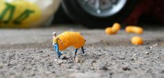 London-based artist Slinkachu began the 'Little People Project' in 2006 in which heremodels and paints miniature model train set characters, and then places, photographs, and leaves them on the street, combining both street art installation and photography.