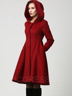 Ericdress Classic Hooded Single-Breasted Coat Coats
