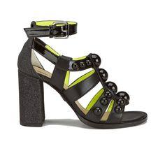 Buy Markus Lupfer Women's Glitter Black Balls Block Heeled Sandals - Black from Allsole. Neon Sandals, Neon Heels, Strappy Heels, Shoes Sandals, Black Block Heel Sandals, Black Sandals, Black Heels, Open Toe Shoes, Open Toe Sandals