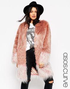 ASOS CURVE Coat in Patch Faux Fur