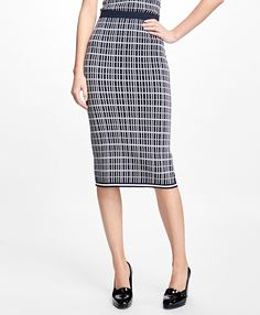 """This graphic print pencil skirt is made from a luxuriously soft double jacquard silk-cotton-blend fabric.<br><br>Striped tipping at hem; 30 ⅝""""; dry-clean; imported."""