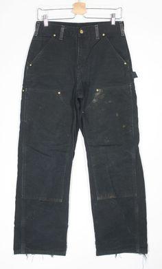 Carhartt B01 Double Knee Carpenters Pants Size 29 x 30 Black Canvas USA Made #Carhartt #Carpenter