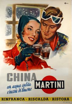 Original Vintage Poster Martini China Luxy by Rossi 1950 Oversize