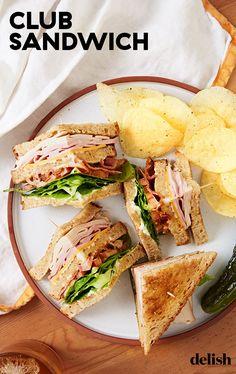 Turkey Club Sandwich, Club Sandwich Recipes, Lunch Recipes, Summer Recipes, Cooking Recipes, Sandwich Ideas, Chicken Sandwich, Simple Sandwich Recipes, Tofu Recipes