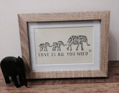 Items similar to Framed Elephant Print - Papercut print -framed - quote - family - love - Love is all you need - wedding gift - new home - art - gift - on Etsy Framed Quotes, Bee Design, Elephant Print, Family Love, Family Quotes, Love Is All, Paper Cutting, Home Art, House Warming